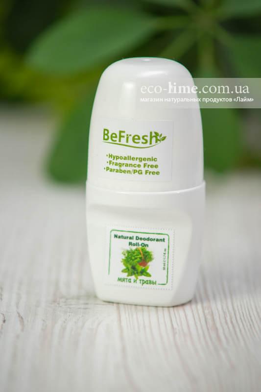 Дезодорант роликовый BeFreshOrganic с мятой и травами
