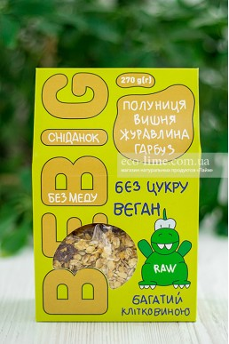 Завтрак без меда, клубника-вишня-клюква-тыквенные семечки BeBig, 270 гр