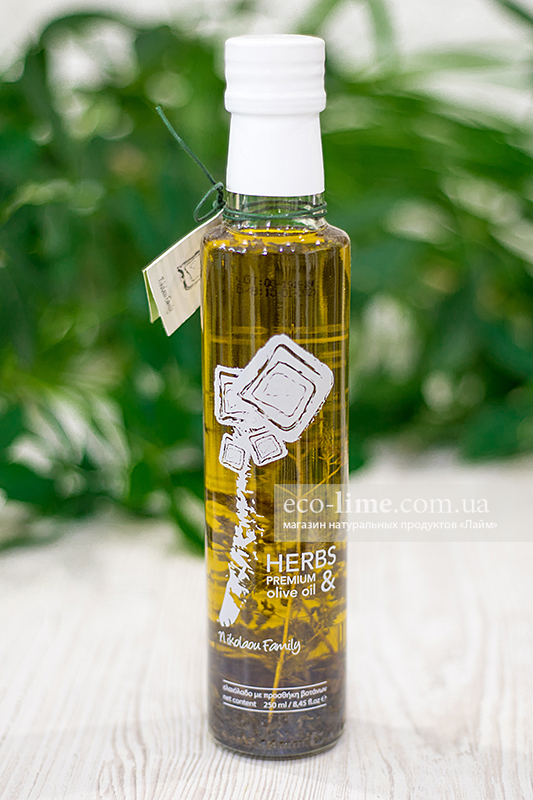 Масло оливковое Extra Virgin Nikolaou Family с травами (Греция), 250 мл