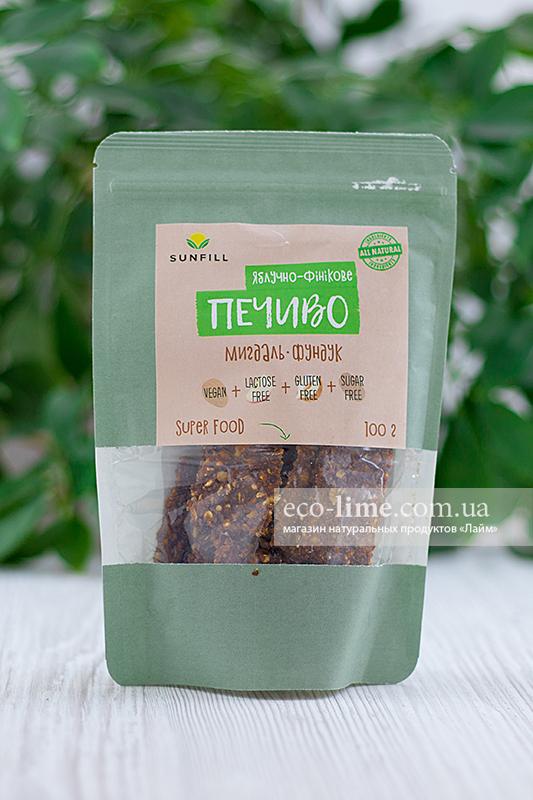 Печенье Яблочно-финиковое с орехами SunFill, 100г