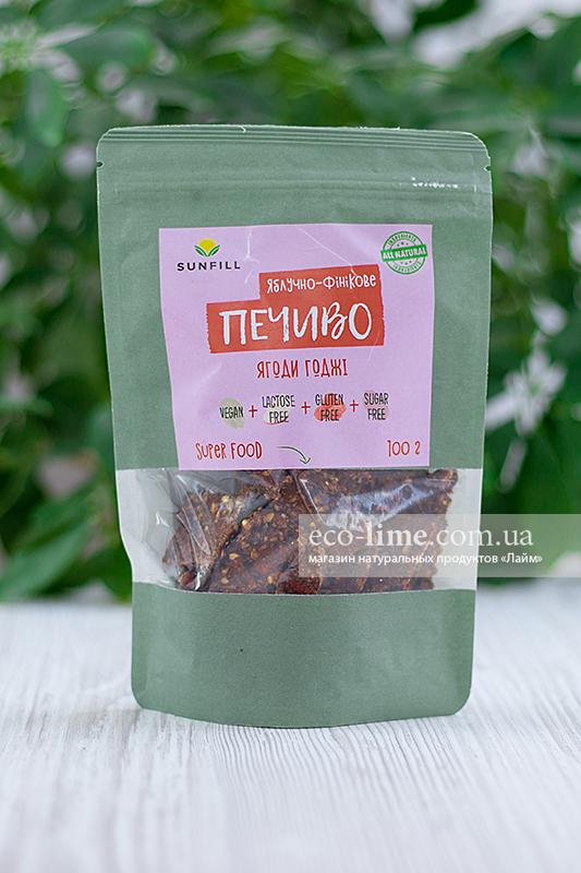 Печенье Яблочно-финиковое с ягодами годжи SunFill, 100г