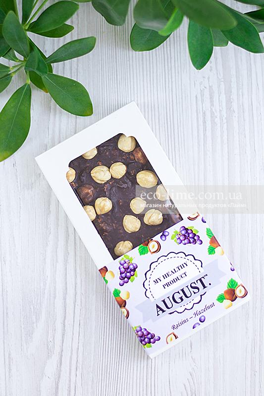 Шоколад Август (фундук и изюм), 80г
