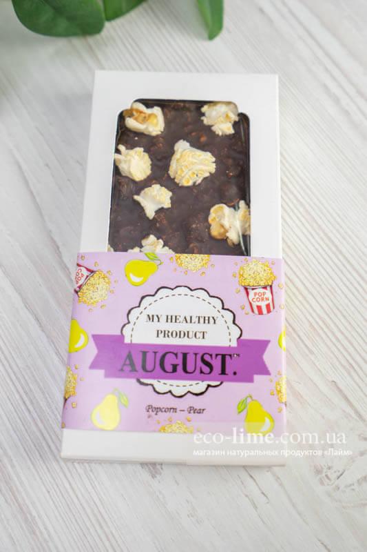 Шоколад Август (соленый попкорн и медовая груша), 80г