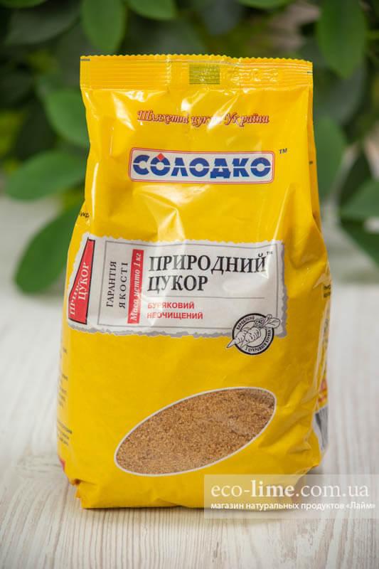 Сахар природный коричневый в упаковке Солодко, 1кг